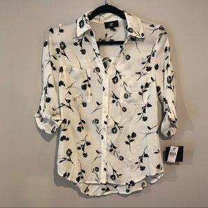 NWT Chiffon Button Up Floral Shirt